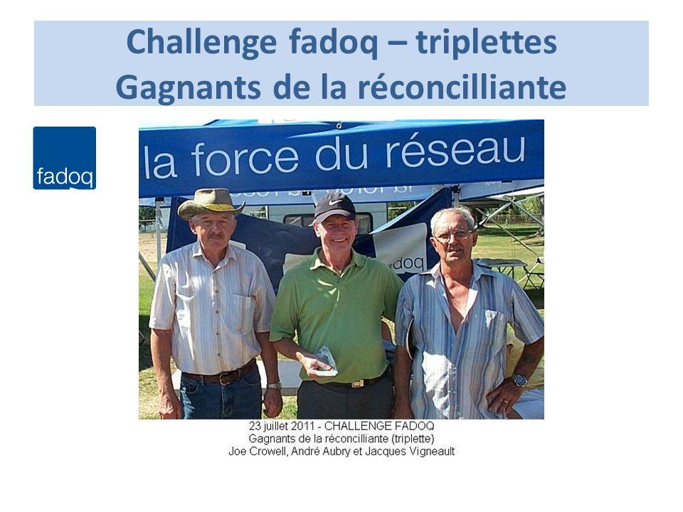 Challenge fadoq – triplettes Gagnants de la réconcilliante