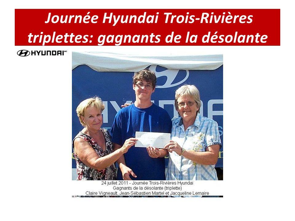 Journée Hyundai Trois-Rivières triplettes: gagnants de la désolante