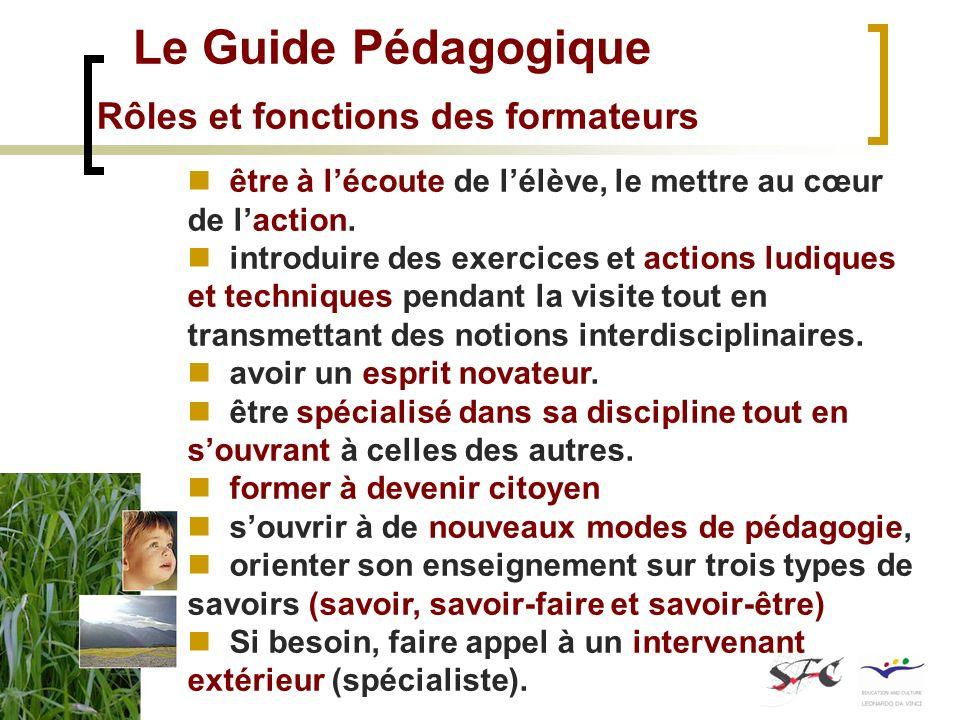 Le Guide Pédagogique Rôles et fonctions des formateurs être à lécoute de lélève, le mettre au cœur de laction. introduire des exercices et actions lud