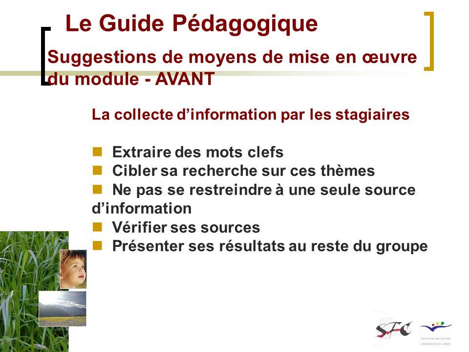 Le Guide Pédagogique Suggestions de moyens de mise en œuvre du module - AVANT La collecte dinformation par les stagiaires Extraire des mots clefs Cibl