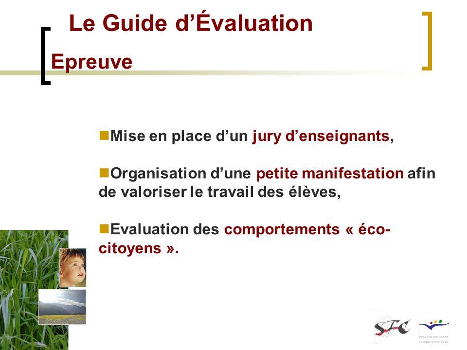Le Guide dÉvaluation Epreuve Mise en place dun jury denseignants, Organisation dune petite manifestation afin de valoriser le travail des élèves, Evaluation des comportements « éco- citoyens ».