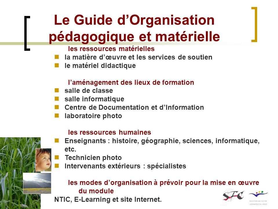 Le Guide dOrganisation pédagogique et matérielle les ressources matérielles la matière dœuvre et les services de soutien le matériel didactique laména