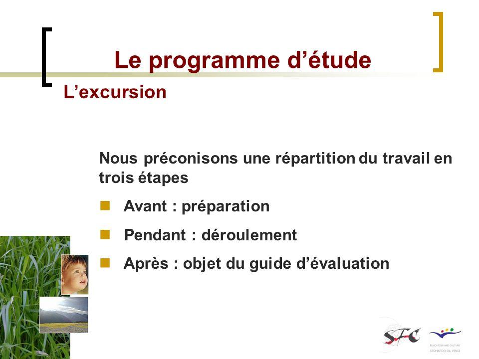 Le programme détude Lexcursion Nous préconisons une répartition du travail en trois étapes Avant : préparation Pendant : déroulement Après : objet du