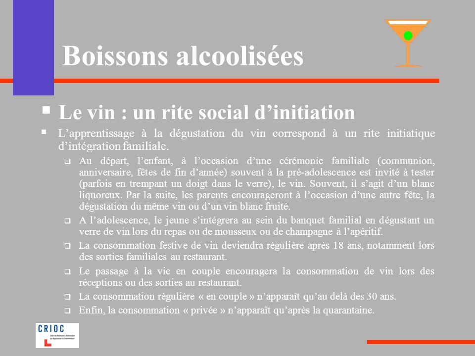 Boissons alcoolisées Le vin : un rite social dinitiation Lapprentissage à la dégustation du vin correspond à un rite initiatique dintégration familiale.