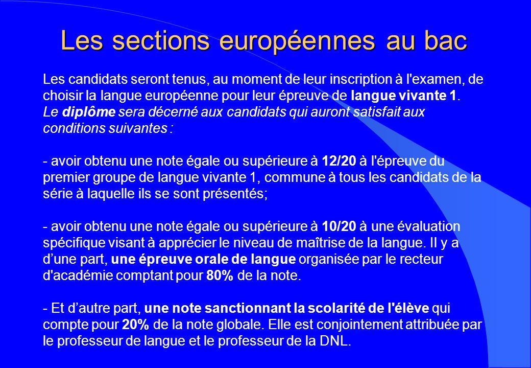 Les sections européennes au bac Les candidats seront tenus, au moment de leur inscription à l'examen, de choisir la langue européenne pour leur épreuv