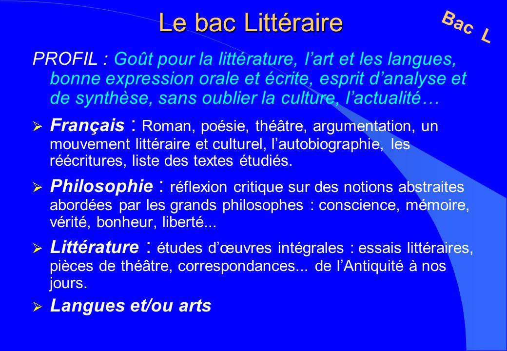 Le bac Littéraire PROFIL : Goût pour la littérature, lart et les langues, bonne expression orale et écrite, esprit danalyse et de synthèse, sans oubli