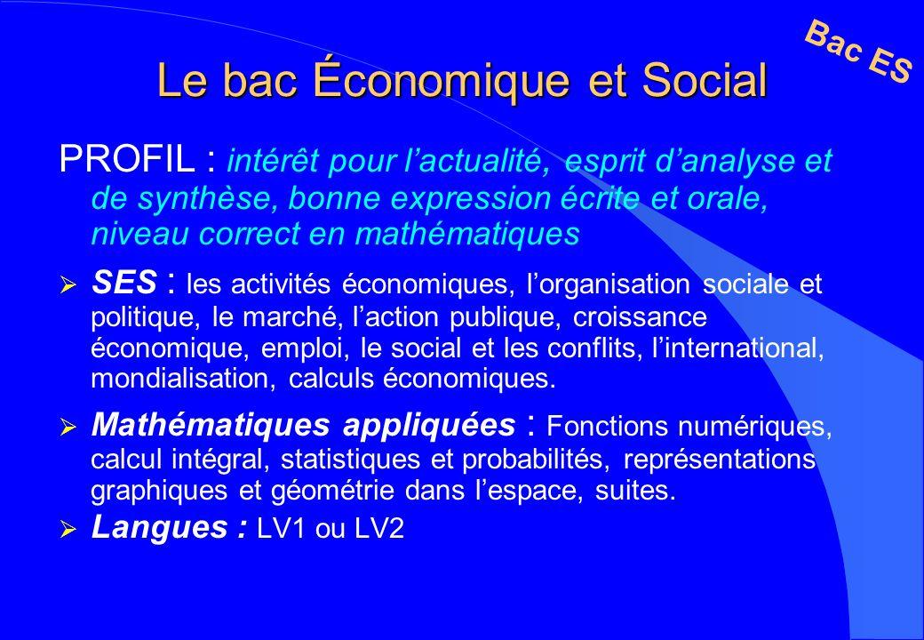 Le bac Économique et Social PROFIL : intérêt pour lactualité, esprit danalyse et de synthèse, bonne expression écrite et orale, niveau correct en math