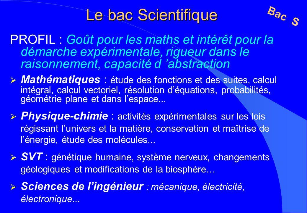 Le bac Scientifique PROFIL : Goût pour les maths et intérêt pour la démarche expérimentale, rigueur dans le raisonnement, capacité d abstraction Mathé