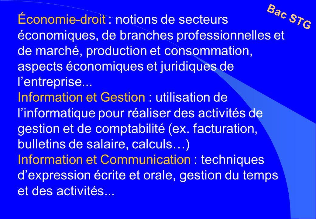 Économie-droit : notions de secteurs économiques, de branches professionnelles et de marché, production et consommation, aspects économiques et juridi