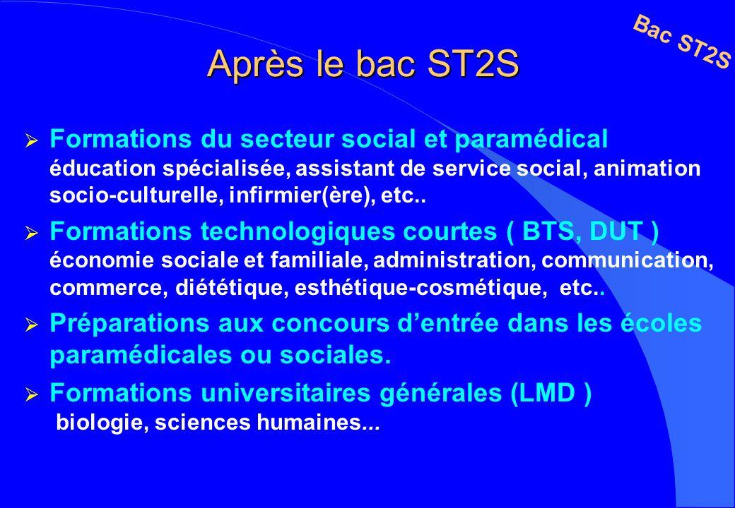 Après le bac ST2S Formations du secteur social et paramédical éducation spécialisée, assistant de service social, animation socio-culturelle, infirmie