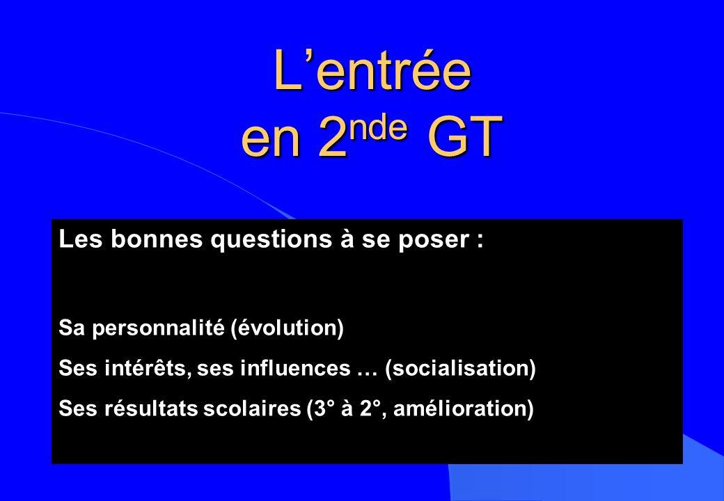 Lentrée en 2 nde GT Les bonnes questions à se poser : Sa personnalité (évolution) Ses intérêts, ses influences … (socialisation) Ses résultats scolair