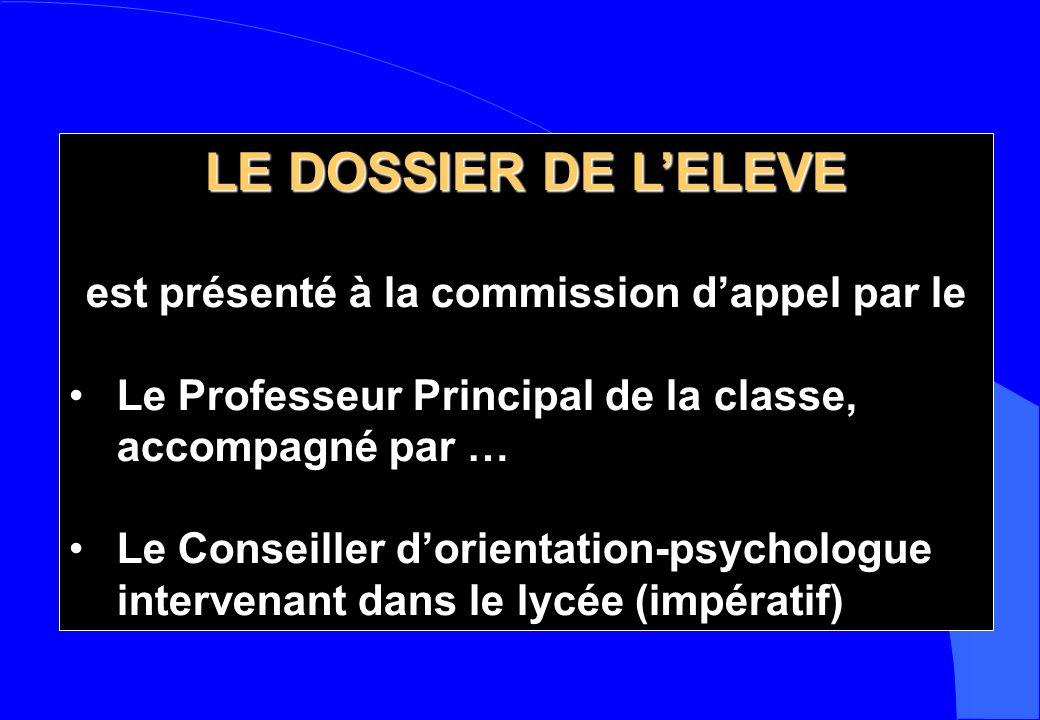 LE DOSSIER DE LELEVE est présenté à la commission dappel par le Le Professeur Principal de la classe, accompagné par … Le Conseiller dorientation-psyc