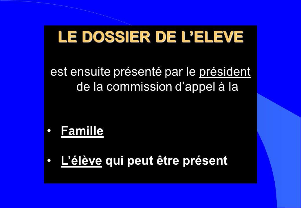 LE DOSSIER DE LELEVE est ensuite présenté par le président de la commission dappel à la Famille Lélève qui peut être présent