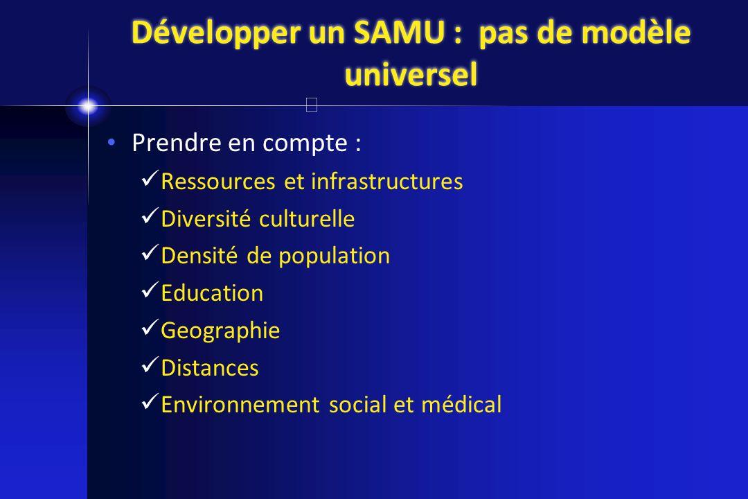 Développer un SAMU : pas de modèle universel Prendre en compte : Ressources et infrastructures Diversité culturelle Densité de population Education Ge