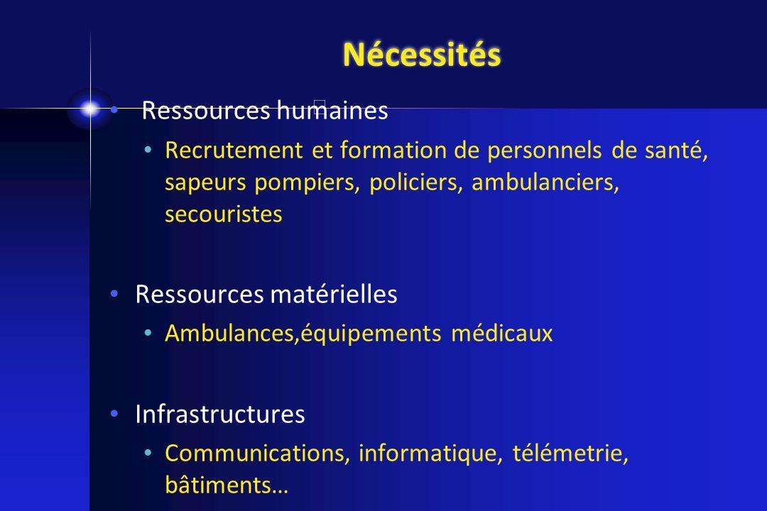 Nécessités Ressources humaines Recrutement et formation de personnels de santé, sapeurs pompiers, policiers, ambulanciers, secouristes Ressources maté