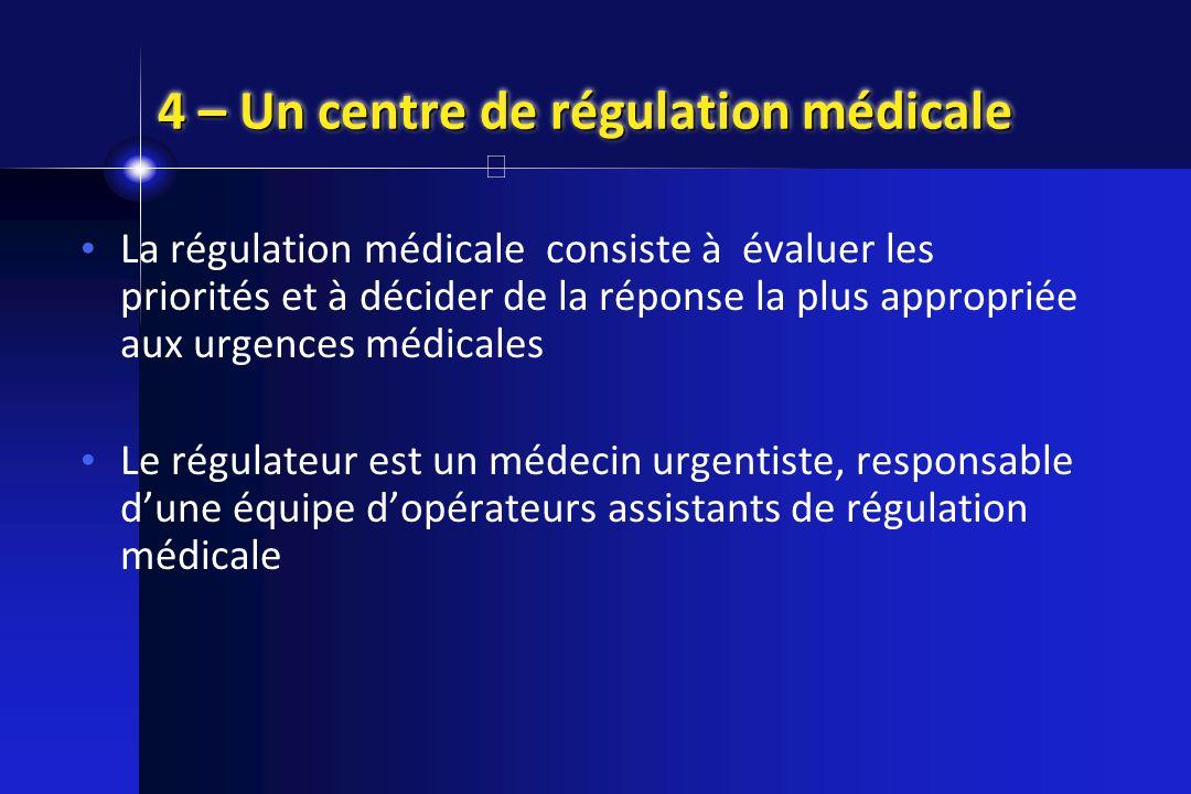 4 – Un centre de régulation médicale La régulation médicale consiste à évaluer les priorités et à décider de la réponse la plus appropriée aux urgence