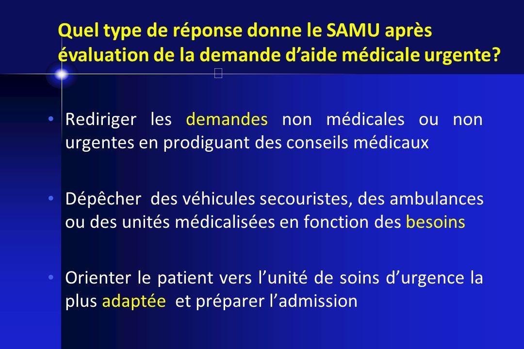 Rediriger les demandes non médicales ou non urgentes en prodiguant des conseils médicaux Dépêcher des véhicules secouristes, des ambulances ou des uni