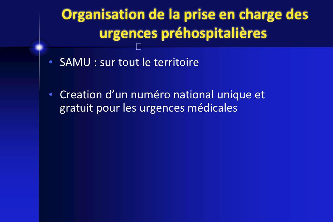 Organisation de la prise en charge des urgences préhospitalières SAMU : sur tout le territoire Creation dun numéro national unique et gratuit pour les