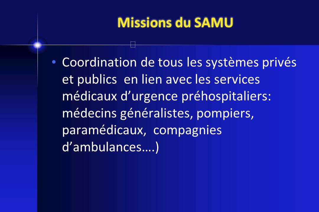 Missions du SAMU Coordination de tous les systèmes privés et publics en lien avec les services médicaux durgence préhospitaliers: médecins généraliste