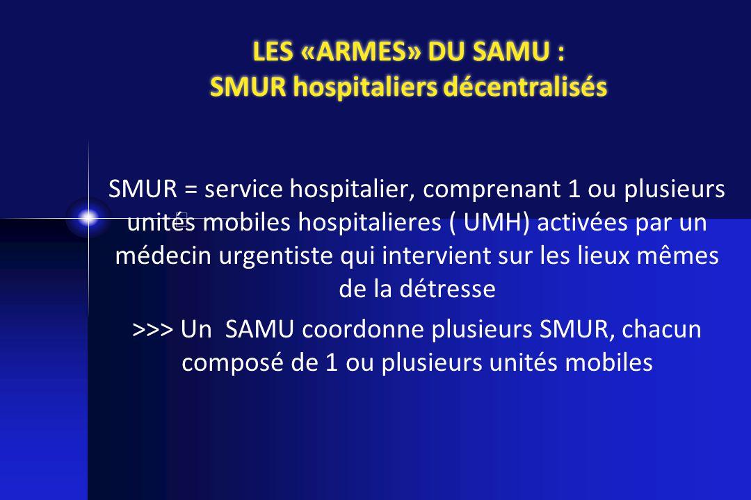 SMUR = service hospitalier, comprenant 1 ou plusieurs unités mobiles hospitalieres ( UMH) activées par un médecin urgentiste qui intervient sur les li