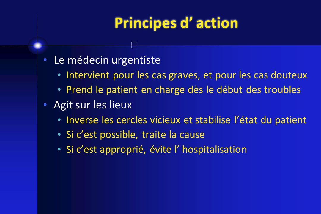 Principes d action Le médecin urgentiste Intervient pour les cas graves, et pour les cas douteux Prend le patient en charge dès le début des troubles