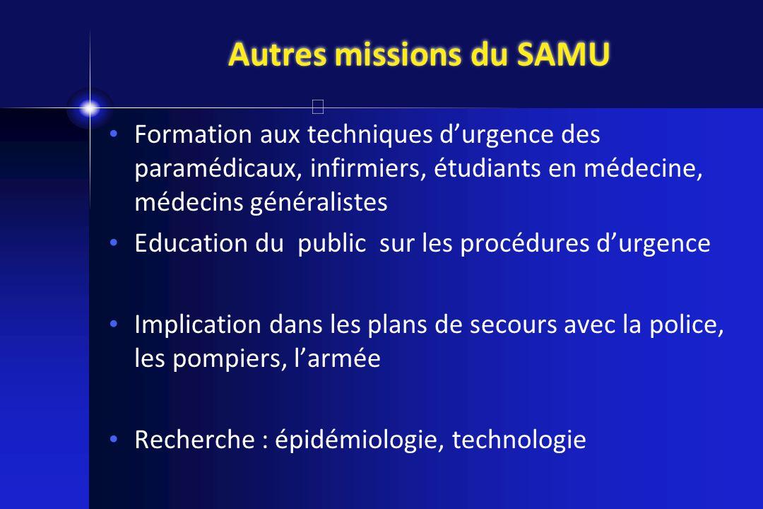 Autres missions du SAMU Formation aux techniques durgence des paramédicaux, infirmiers, étudiants en médecine, médecins généralistes Education du publ
