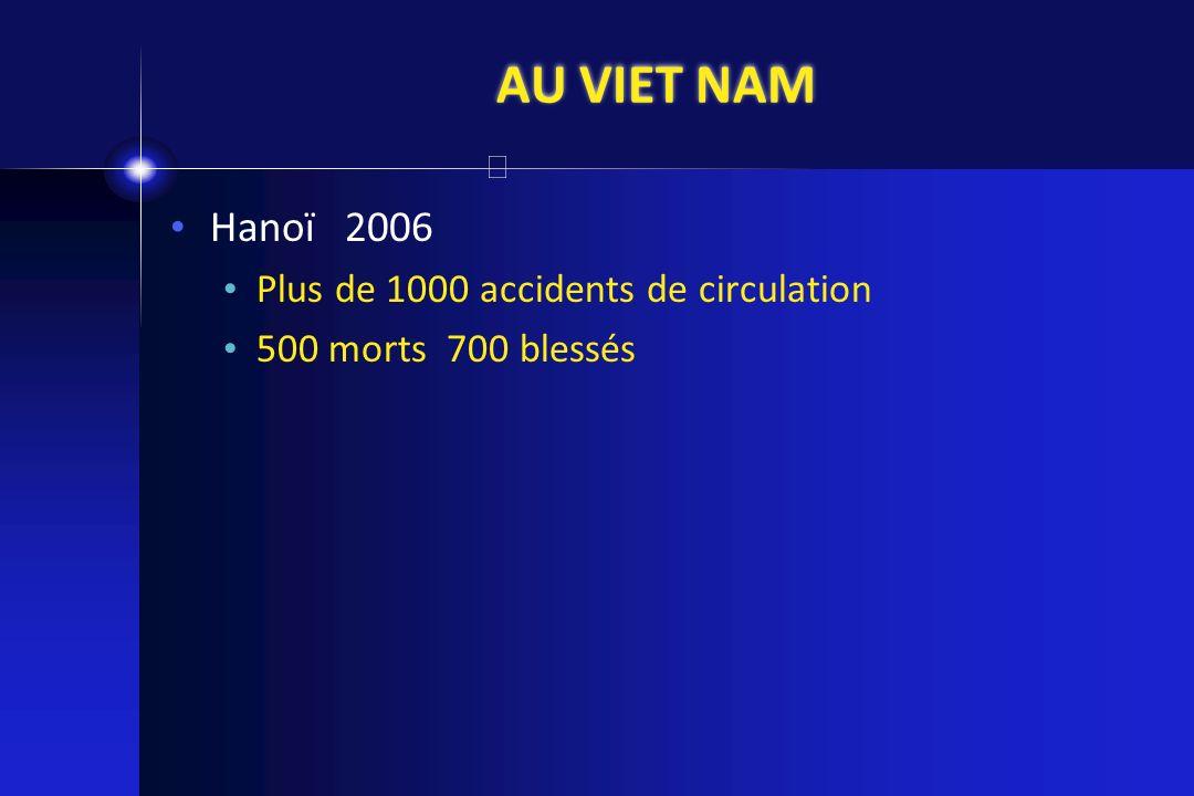 AU VIET NAM Hanoï 2006 Plus de 1000 accidents de circulation 500 morts 700 blessés