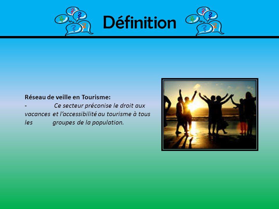 Définition Réseau de veille en Tourisme: - Ce secteur préconise le droit aux vacances et laccessibilité au tourisme à tous les groupes de la populatio