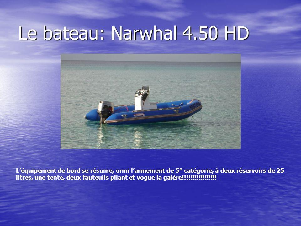 Le bateau: Narwhal 4.50 HD Léquipement de bord se résume, ormi larmement de 5° catégorie, à deux réservoirs de 25 litres, une tente, deux fauteuils pliant et vogue la galère!!!!!!!!!!!!!!!!!