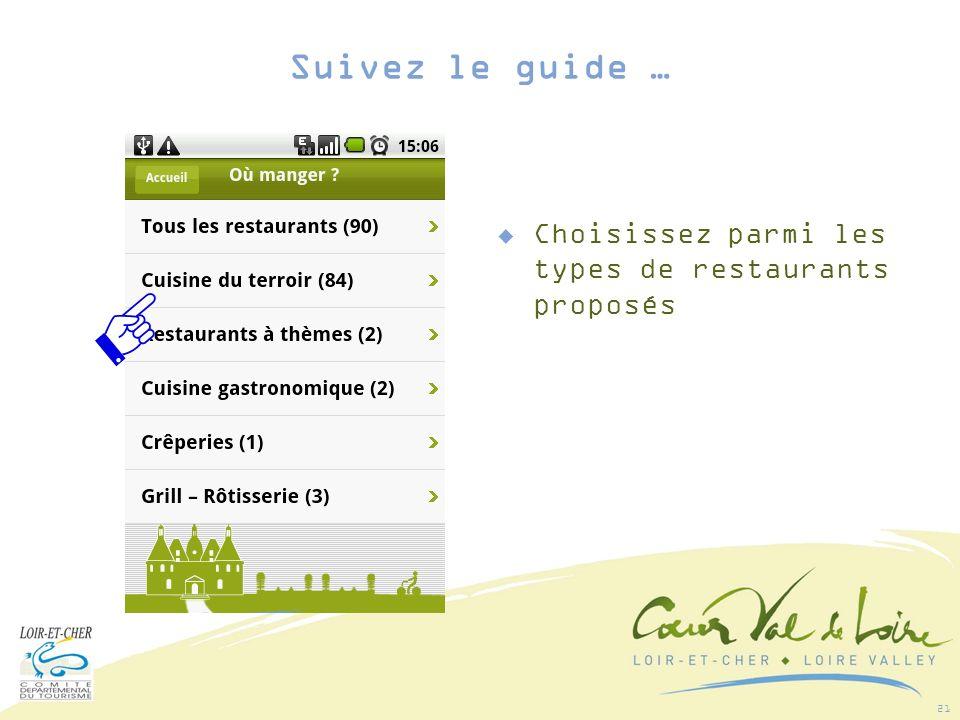 21 Choisissez parmi les types de restaurants proposés Suivez le guide …