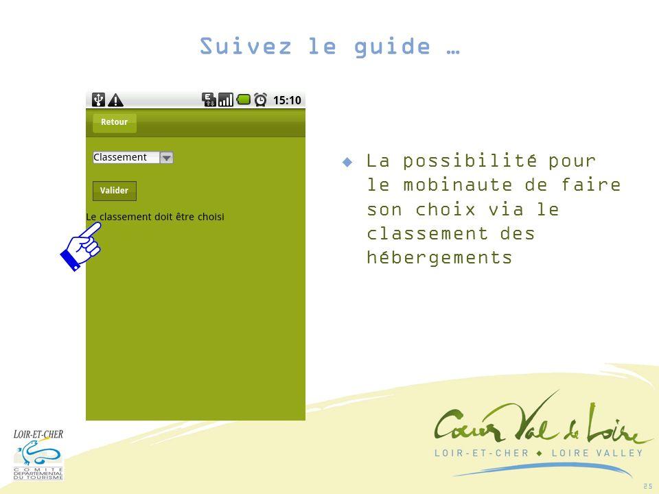 25 La possibilité pour le mobinaute de faire son choix via le classement des hébergements Suivez le guide …