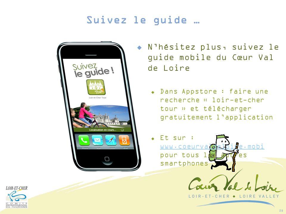 28 Nhésitez plus, suivez le guide mobile du Cœur Val de Loire Dans Appstore : faire une recherche « loir-et-cher tour » et télécharger gratuitement lapplication Et sur : www.coeurvaldeloire.mobi pour tous les autres smartphones www.coeurvaldeloire.mobi Suivez le guide …