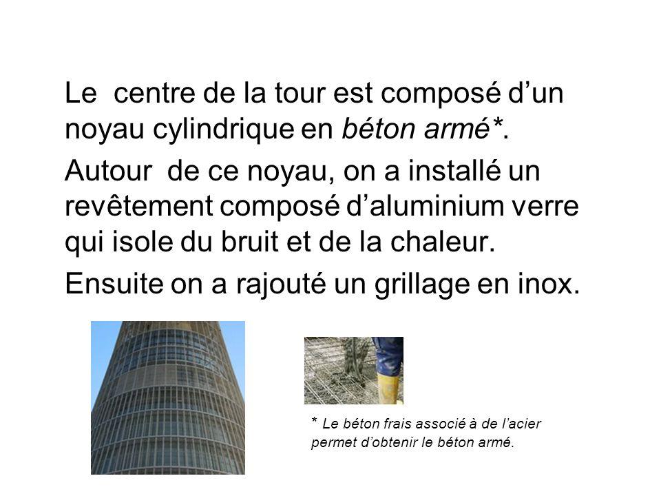 Le centre de la tour est composé dun noyau cylindrique en béton armé*.