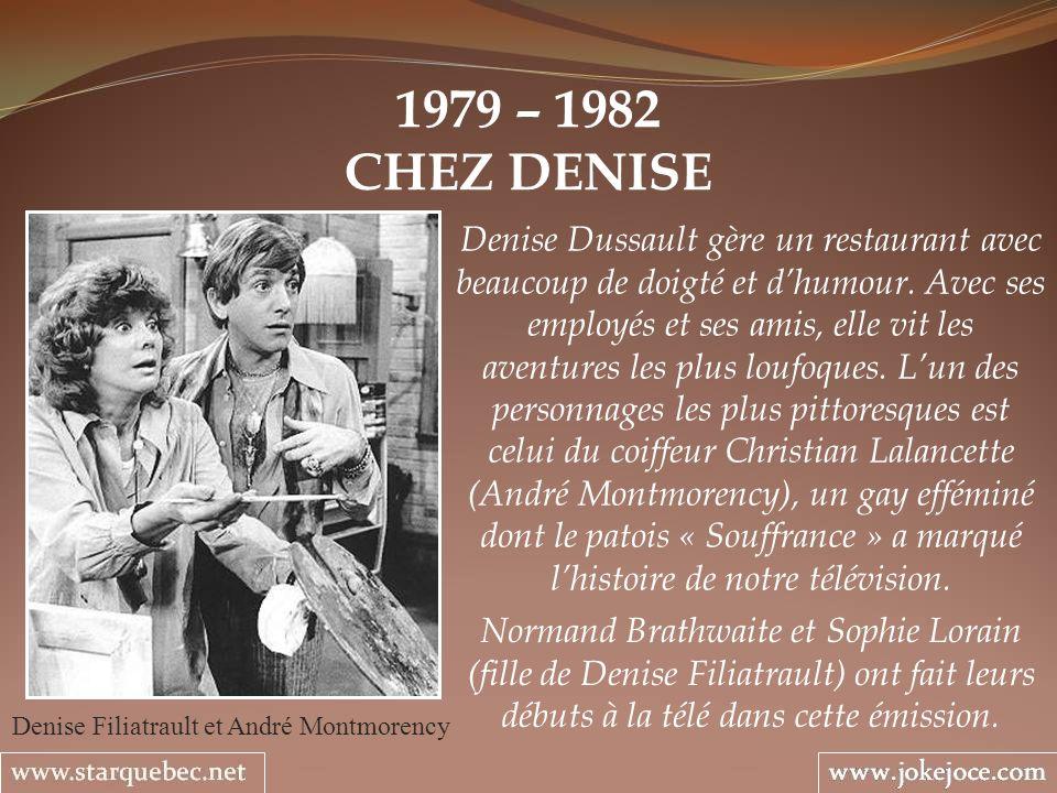 1979 – 1982 CHEZ DENISE Denise Filiatrault et André Montmorency Denise Dussault gère un restaurant avec beaucoup de doigté et dhumour. Avec ses employ