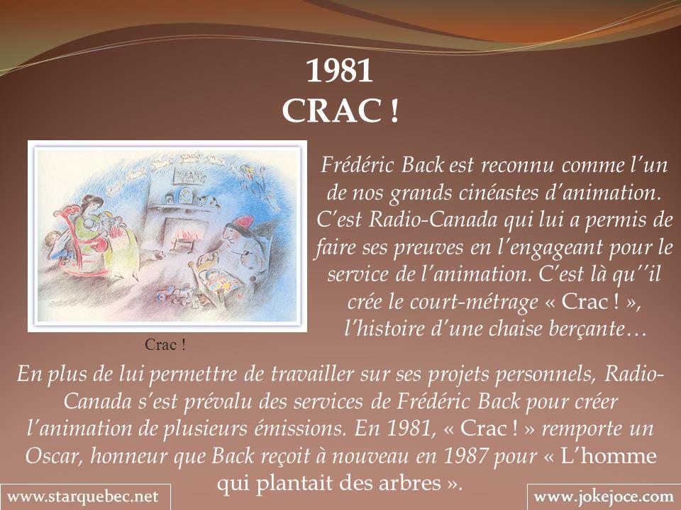1981 CRAC ! Crac ! Frédéric Back est reconnu comme lun de nos grands cinéastes danimation. Cest Radio-Canada qui lui a permis de faire ses preuves en