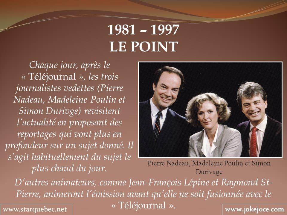 1981 – 1997 LE POINT Pierre Nadeau, Madeleine Poulin et Simon Durivage Chaque jour, après le « Téléjournal », les trois journalistes vedettes (Pierre