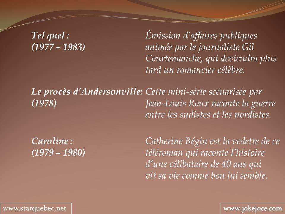 Le procès dAndersonville: Cette mini-série scénarisée par (1978) Jean-Louis Roux raconte la guerre entre les sudistes et les nordistes. Caroline : Cat
