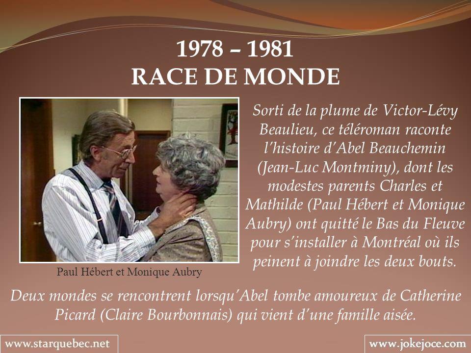 1978 – 1981 RACE DE MONDE Paul Hébert et Monique Aubry Sorti de la plume de Victor-Lévy Beaulieu, ce téléroman raconte lhistoire dAbel Beauchemin (Jea