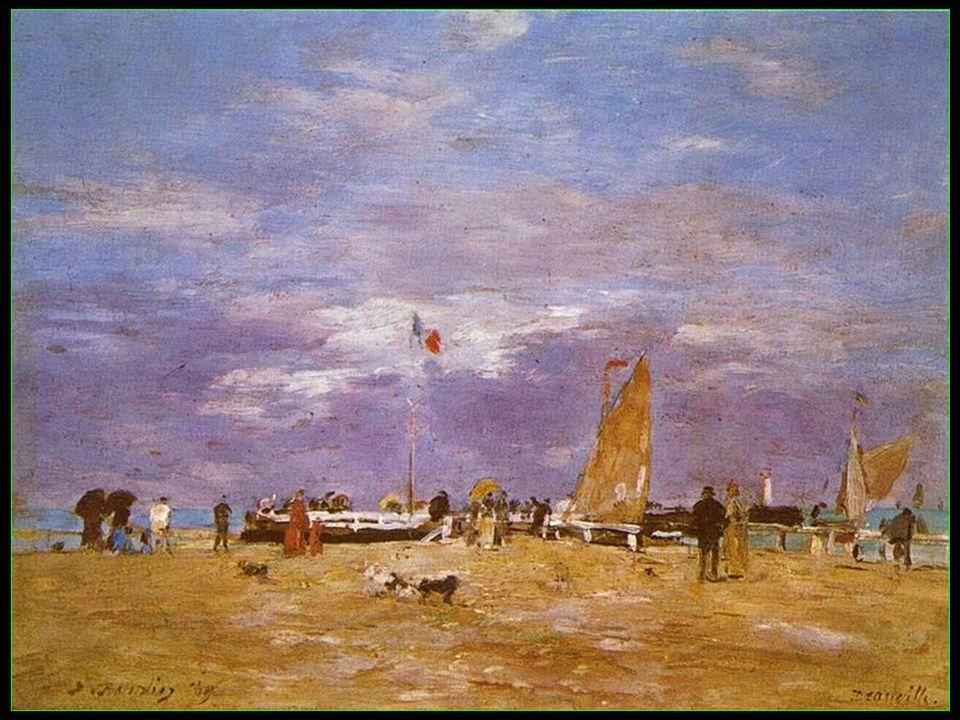 La plage de Deauville en 1865 par Eugène Boudin peintre