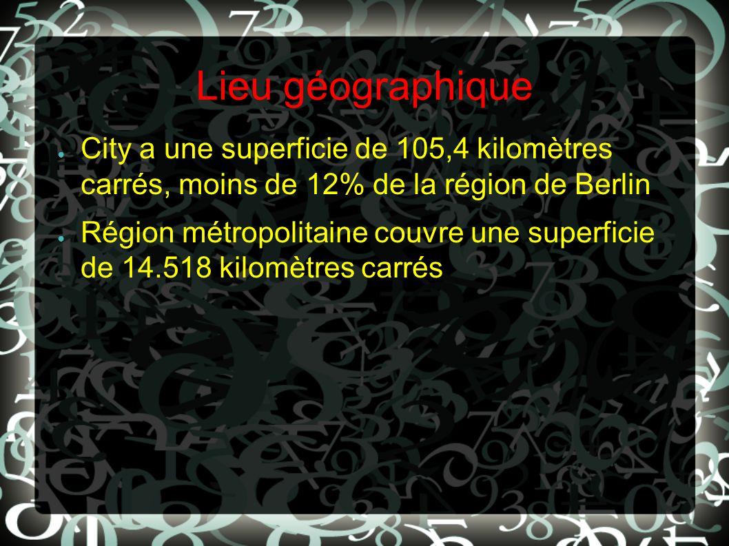 Lieu géographique City a une superficie de 105,4 kilomètres carrés, moins de 12% de la région de Berlin Région métropolitaine couvre une superficie de