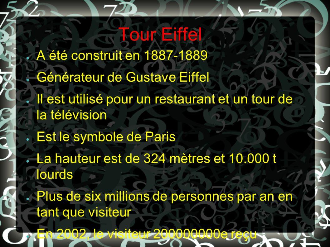 Tour Eiffel A été construit en 1887-1889 Générateur de Gustave Eiffel Il est utilisé pour un restaurant et un tour de la télévision Est le symbole de
