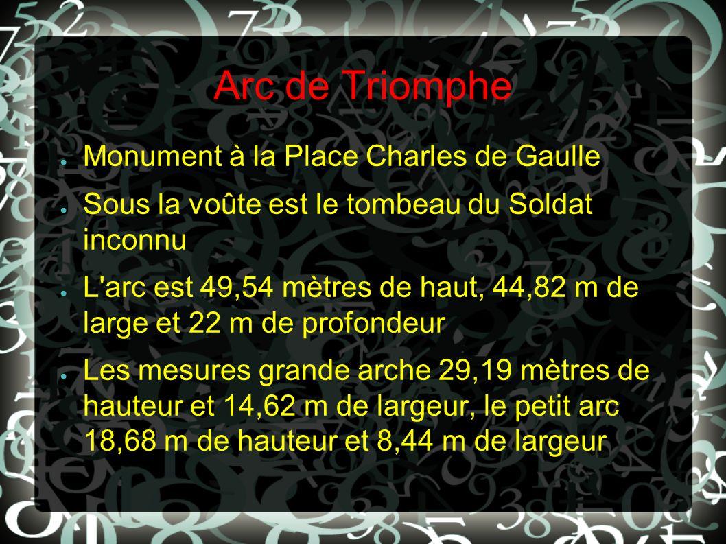 Arc de Triomphe Monument à la Place Charles de Gaulle Sous la voûte est le tombeau du Soldat inconnu L'arc est 49,54 mètres de haut, 44,82 m de large