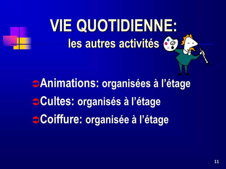 11 VIE QUOTIDIENNE: les autres activités Animations: organisées à létage Cultes: organisés à létage Coiffure: organisée à létage