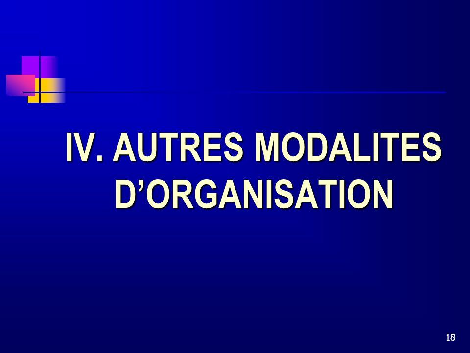 18 IV. AUTRES MODALITES DORGANISATION