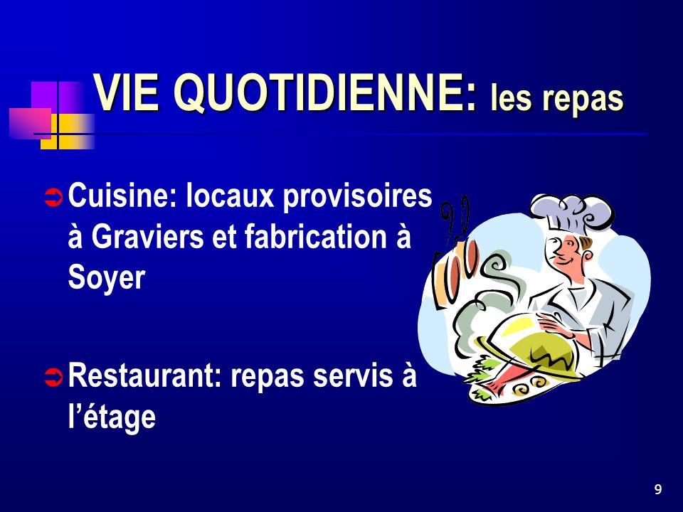 9 VIE QUOTIDIENNE: les repas Cuisine: locaux provisoires à Graviers et fabrication à Soyer Restaurant: repas servis à létage