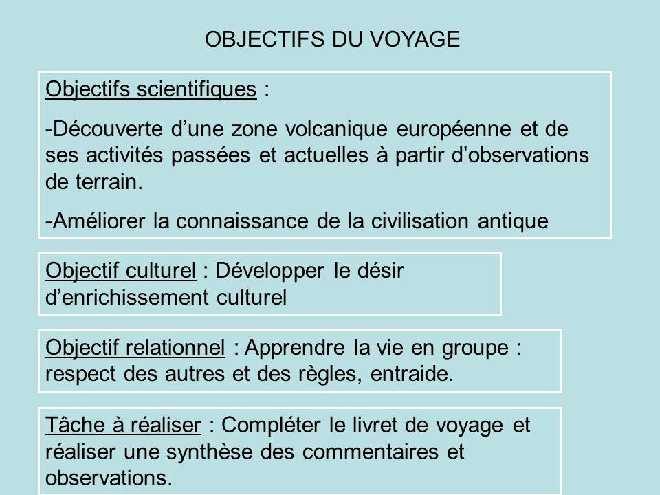 Objectifs scientifiques : -Découverte dune zone volcanique européenne et de ses activités passées et actuelles à partir dobservations de terrain. -Amé