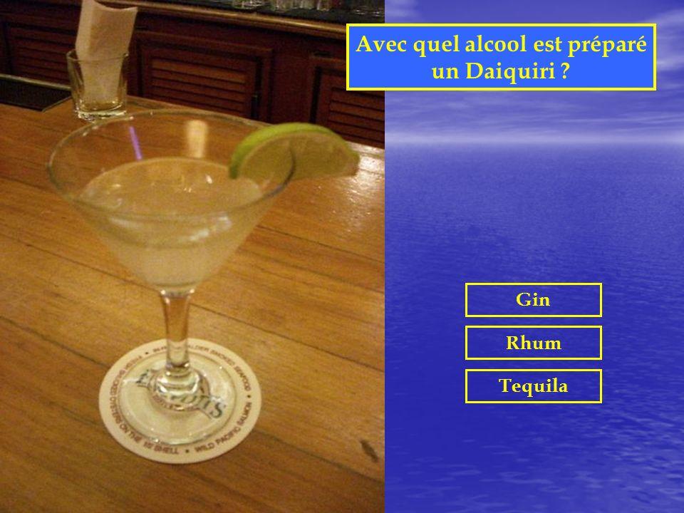 Avec quel alcool est préparé un Margarita ? Gin Rhum Tequila