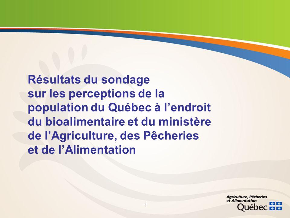 1 Résultats du sondage sur les perceptions de la population du Québec à lendroit du bioalimentaire et du ministère de lAgriculture, des Pêcheries et de lAlimentation