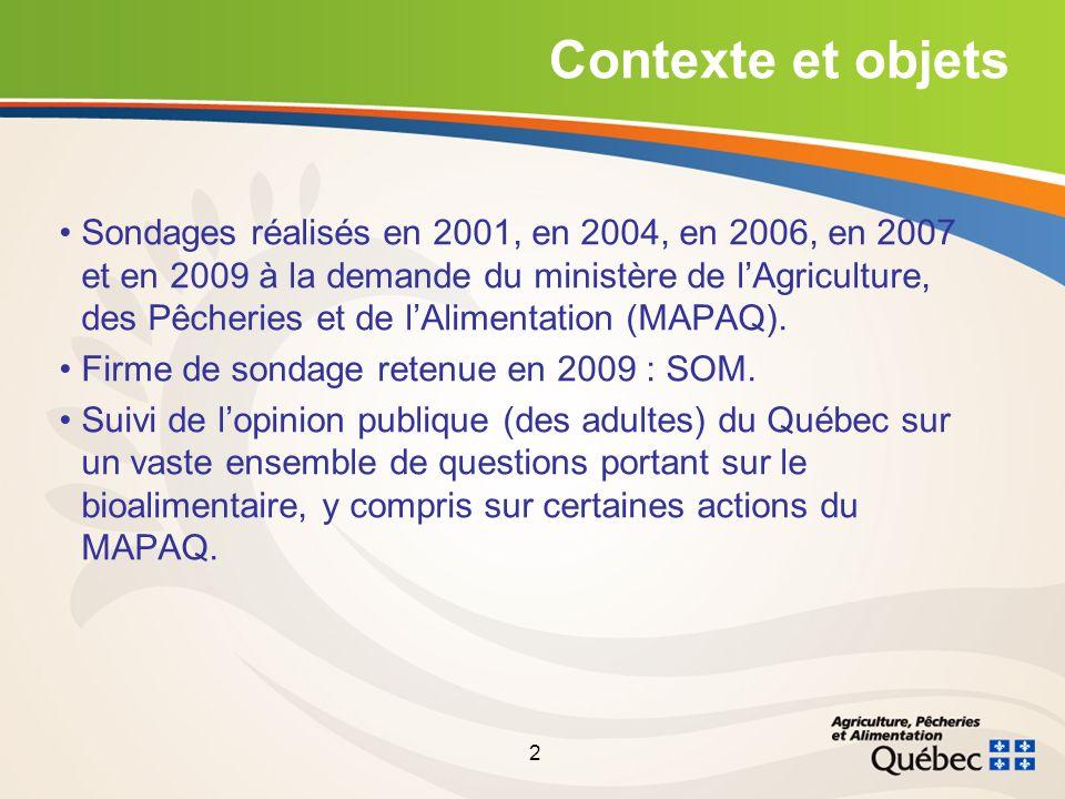 2 Contexte et objets Sondages réalisés en 2001, en 2004, en 2006, en 2007 et en 2009 à la demande du ministère de lAgriculture, des Pêcheries et de lAlimentation (MAPAQ).