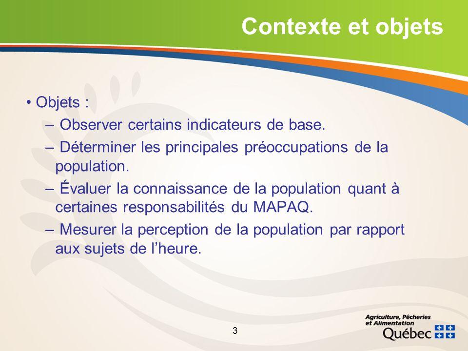 3 Contexte et objets Objets : – Observer certains indicateurs de base.